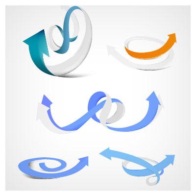 مجموعه فلش (Arrow) های وکتوری سه بعدی در رنگ ها و شکل های متنوع