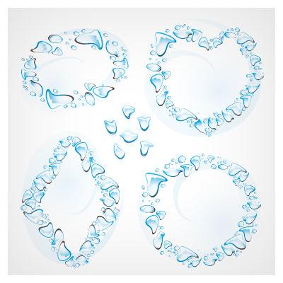 مجموعه قاب های وکتور قطره آب