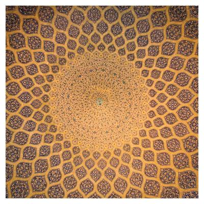 عکس با کیفیت سقف داخلی مسجد شیخ لطف اله