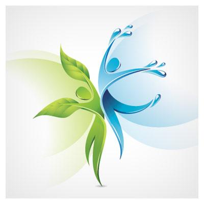 وکتور خلاقانه با موضوع پیوند طبیعت و آب (Creative dancers symbol vector)