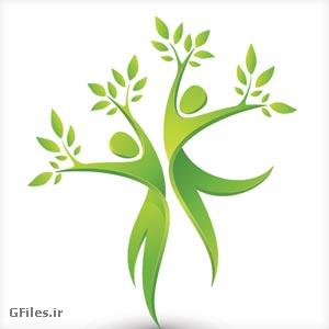 دانلود فایل رایگان وکتوری به شکل آدمک های سبز رنگ درختی