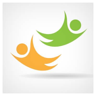 دانلود فایل برداری لوگو آدمک های در حال پرواز به رنگ زرد و سبز