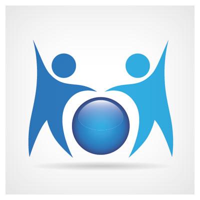 دانلود لوگو آماده دو آدمک گرافیکی آبی رنگ در کنار یک کره آبی