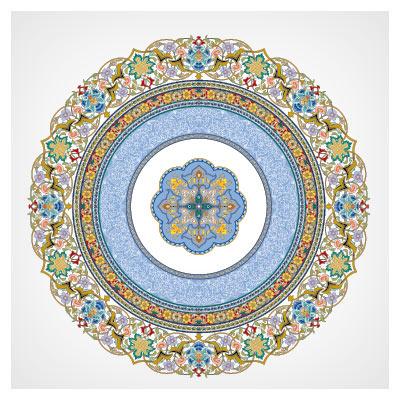 وکتور تذهیب اسلامی با حاشیه دوار و کنگره ای (لایه باز)