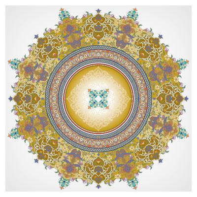 دانلود تذهیب دایره ای (مدور) با المان های سنتی اسلامی ایرانی