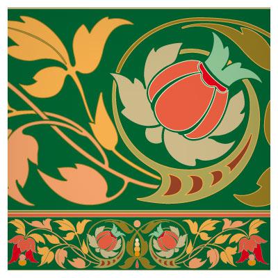 کادر مستطیلی وکتور با المان و طرح های گل تزئینی و تذهیبی
