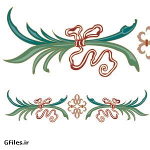وکتور تزئینی برگ و روبان از مجموعه وکتورهای ویکتوریا