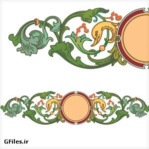 دانلود وکتور تزئینی (Ornament) گل و مرغ