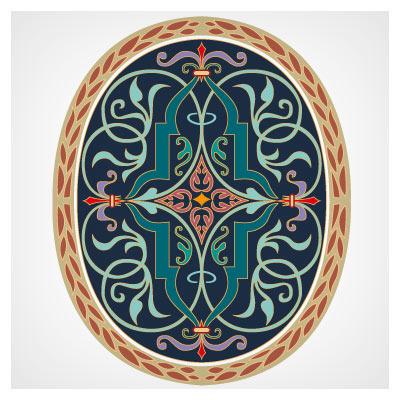 طرح تزئینی وکتور بیضوی شکل از مجموعه طرحهای تذهیب