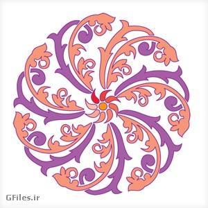 گل آبسترکت تذهیب شکل (پترن) مدور