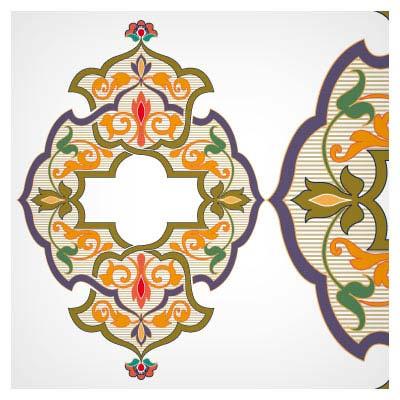 المان های وکتوری باغ گل اسلامی (تذهیب و اسلیمی)
