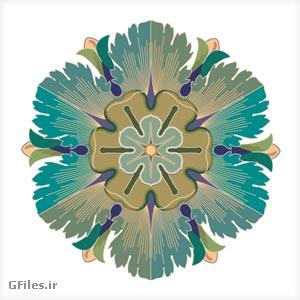 وکتور (فایل برداری) گل تزئینی تذهیب شکل