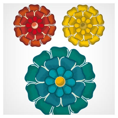 مجموعه گلهای تزئینی اسلامی با فرمت برداری (وکتور)