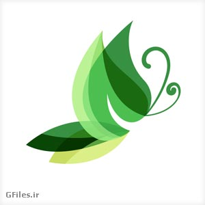 لوگوی آماده وکتوری با طرح پروانه سبز با پسوندهای ai و pdf