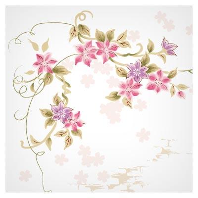 دانلود فایل برداری گل و بوته مینیاتوری حاشیه ای صورتی