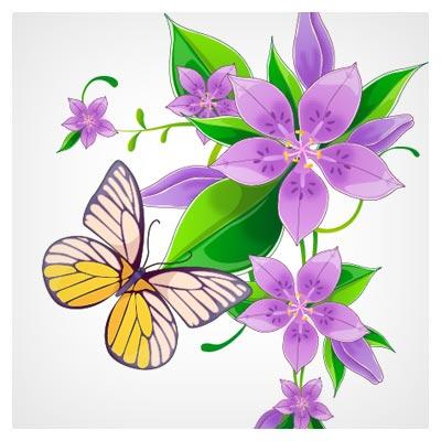 دانلود فایل لایه باز وکتوری گل و پروانه زیبا ، ارائه شده با دو فرمت ai و pdf