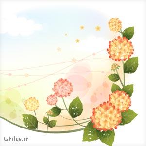 دانلود فایل وکتور یا برداری frame گلهای مینیاتوری زیبا