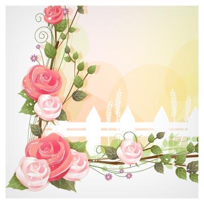 وکتور حاشیه ای (Corner) گل های رمانتیک و فانتزی رز