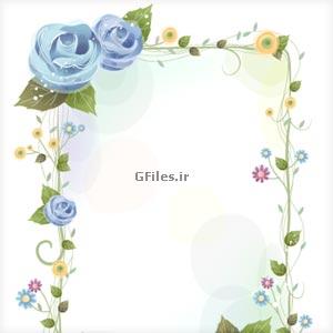دانلود فریم و قاب تزئینی با گل های رز آبی رنگ به صورت لایه باز