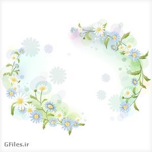 دانلود فایل وکتوری لایه باز گل های رنگی زیبا آبی با دو پسوند ai و pdf