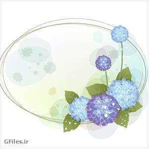 دانلود فایل وکتور فریم گل درشت آبی و بنفش