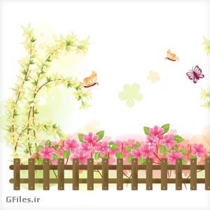 دانلود فریم وکتوری گل و بوته، گل های صورتی و پروانه ها و نرده چوبی