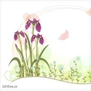 دانلود فایل وکتوری گل در طبیعت به صورت فریم (لایه باز ai و pdf)