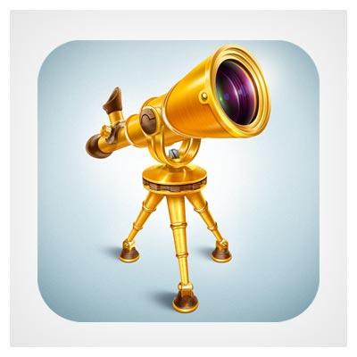 آیکون تلسکوپ طلایی