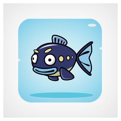 آیکون ماهی و دریا