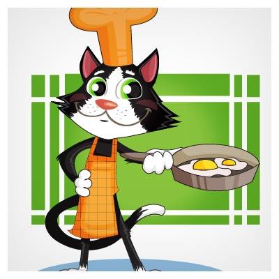 دانلود فایل وکتوری پس زمینه کارتونی گربه آشپز در حال پختن نیمرو