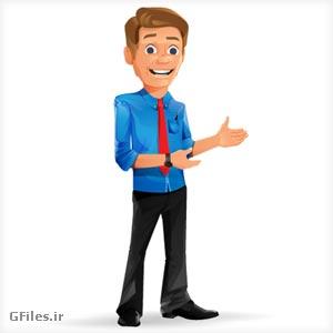 دانلود اراکتر کارتونی مرد جوان در حال صحبت کردن