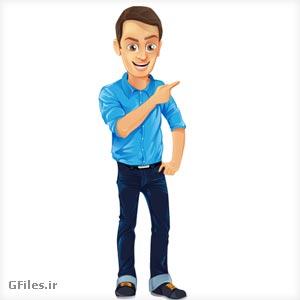 دانلود فایل وکتوری کاراکتر کارتونی مرد جوان در حال اشاره کردن
