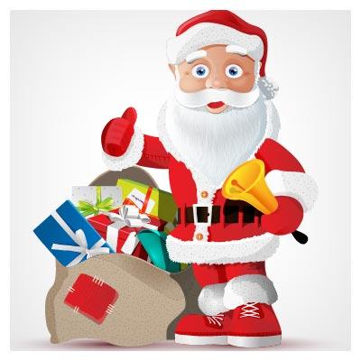 فایل لایه باز وکتور بابانوئل و هدایای سال نو