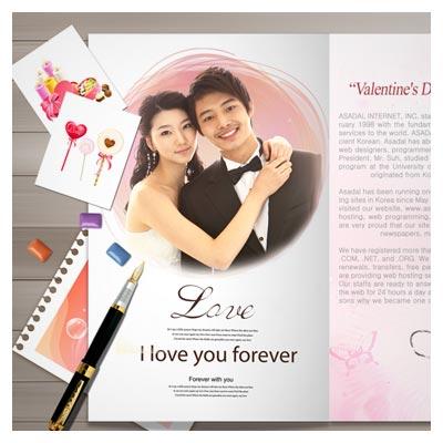 فایل psd لایه باز با المان های عاشقانه (Romantic love letter design PSD material)