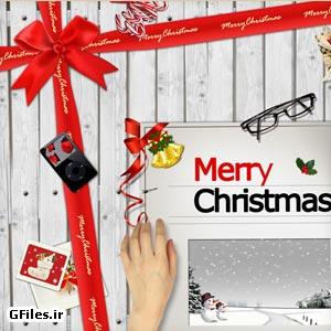 فایل بکگراند کریسمس با المان و آیتم های لایه باز psd
