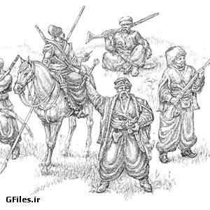 دانلود عکس رایگان و قدیمی نقاشی شده سیاه قلم با طرح مردان مسلح چینی