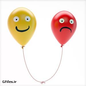دانلود رایگان تصویر دو بادکنک خوشحال و ناراحت (غم و شادی)