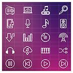 دانلود فایل وکتوری مجموعه آیکونهای خطی با موضوع موسیقی و ادوات موزیک