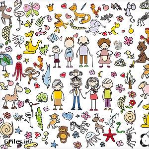 دانلود فایل برداری وکتور مجموعه پترن کودکانه بصورت کارتونی