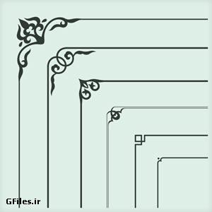 دانلود طرح وکتوری لایه باز و رایگان مجموعه طرحهای تذهیبی حاشیه و گوشه