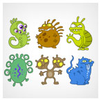 دانلود فایل وکتوری شخصیت های کارتونی ویروس و غول های کوچک