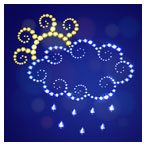 وکتور کارتونی شب با المان های آب و هوای بارانی ، ابر و خورشید
