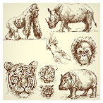 طراحی با دست (سیاه قلم) حیوانات بصورت وکتور با پسوند ai