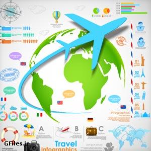 دانلود فایل رایگان وکتور با موضوع اینفوگرافیک سفر با هواپیما
