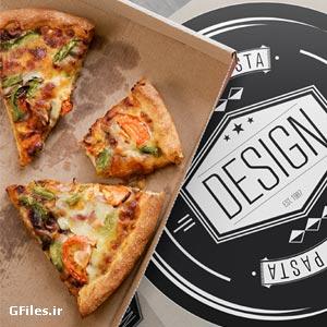 موکاپ لایه باز جعبه و بسته بندی پیتزا با امکان نمایش طرح شما روی جعبه