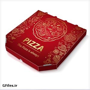 فایل psd موکاپ یا پیش نمایش بسته بندی پیتزا