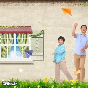 دانلود فایل psd لایه باز با طرح خانواده شاد در کنار دیوار قدیمی