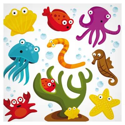 مجموعه وکتور حیوانات دریایی