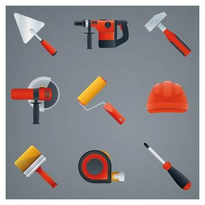 وکتور مجموعه ابزارهای مختلف صنعتی با فرمت های وکتوری