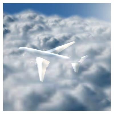 ویدیوی سه بعدی پرواز هواپیما روی ابرها